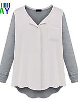 ZAY Women's Casual Work Chiffon Patchwork Long Sleeve Loose T-shirt