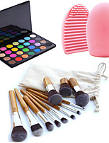 11pcs Makeup Cosmetic Eyebrow Foundation Kabuki Brushes Kits+28 Colors Eyeshadow Palette+Brush Cleaning Tool