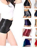 Women Cotton/Others Medium Solid Color Legging Sexy Disco High Waist Silm Candy Color Shorts