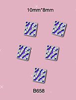 B658 10mm*8mm Fashion Nail Art Tips Stickers Blue Silver Square Alloy Jewelry Glitter Rhinestone Decor 10pcs