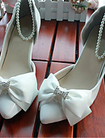 Women's Shoes Leather Stiletto Heel Heels/Round Toe Pumps/Heels Wedding/Party & Evening White