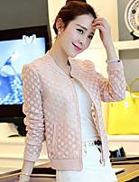 Women's Jacquard Jackets , Casual Round Neck Long Sleeve Zipper