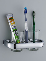Toothbrush Holder,Contemporary Chrome Finish two Glasses Stainless Steel,Bathroom Accessory