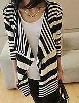 Women's Classical Stripe Irregular Long Sleeve Loose Cardigan More Ways