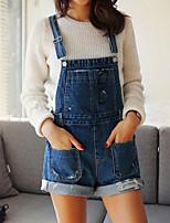 Pantaloni Da donna Vintage/Casual/Romantico/Da ufficio Senza maniche Denim