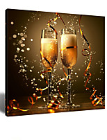 VISUAL STAR® Share the Joys of Victory - Cheers Champagne Glass Canvas Wall Art for Dining Room Ready to Hang