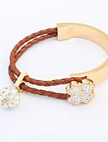 European Style Fashion Clover Rhinestone Ball Braided Rope Bracelet