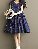 Women's Casual Cherry Print Doll Collar Comfort  Maternity Dress