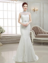 Trumpet/Mermaid Sweep/Brush Train Wedding Dress -High Neck Lace