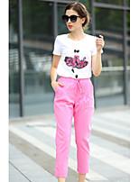 Women's Print/Patchwork Multi-color T-shirt , Round Neck Short Sleeve Sequins/Flower