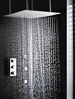 Thermostat Swash And Rainfall Bathroom Set, 20 Inch Ceil Mounted Dual Functional Shower Head And Spa Body Massage Spray