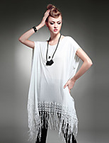 Women's Vintage Fashion Loose Plus Size Irregular Tassel Short Sleeve Tassel Dress Blouse Shirt