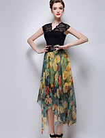 Women's Casual Micro-elastic Translucent Asymmetrical Skirts (Polyester)