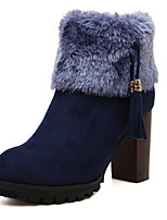 Women's Shoes  Chunky Heel Round Toe Boots Casual Black/Blue