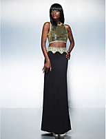 Homecoming Formal Evening Dress Sheath/Column Jewel Floor-length Sequined/Knit