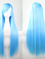 New Anime Cosplay Blue Long Straight Hair Wig 80CM