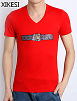 Men's Casual/Sport Print/Pure Short Sleeve Regular T-Shirt (Cotton) XKS7E17
