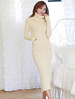Women's Beige Dress , Casual/Party Long Sleeve