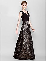 Sheath/Column Mother of the Bride Dress - Black Floor-length Sleeveless Lace/Georgette