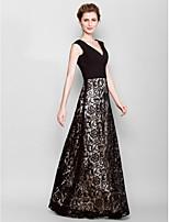 Haljina za majku mladenke Ravna Kat duljine - Crn Čipka/Žoržet