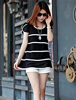 Women's Striped White/Black T-shirt , Round Neck Short Sleeve