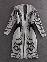 Women's Character Gray Cardigan , Casual/Cute/Party/Work Long Sleeve Embroidery
