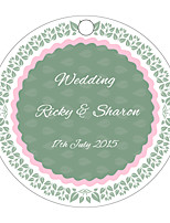 Personalized Circular Wedding Favor Tags - Green Design (Set of 36)