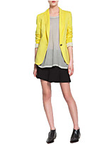 Women's Casual/Work Bright Candy Color Medium Long Sleeve Blazer Coat
