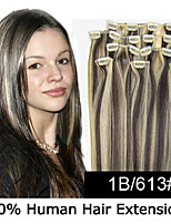 22inch 8pcs /set 100g Clip-in Hair Remy Human Hair Extensions 23 Colors for Women Beauty