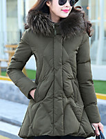 Women's Solid Red/Black/Green Down Coat , Casual/Plus Sizes Hooded Long Sleeve Zipper/Feather/Pleated