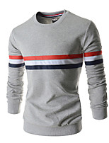 Men's Casual/Work Striped Long Sleeve Regular T-Shirt