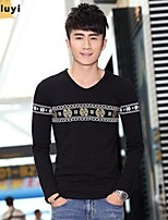 Men's Casual Print Long Sleeve Regular T-Shirt (Cotton)