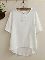 Women's Vintage/Casual Micro-elastic Short Sleeve Regular T-shirt (Cotton/Linen)