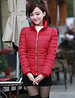 Women's Solid Blue/Red/Black/Green/Yellow Parka Coat , Casual Stand Long Sleeve