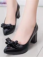 Women's Shoes Chunky Heel Pointed Toe Pumps/Heels Dress Black/White/Beige
