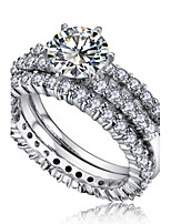 Women's Fashion Shiny Bridal Platinum Plated Zircon Ring Bridal Ring