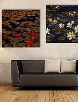 E-HOME® Stretched Canvas Art Lotus Decorative Painting  Set of 2
