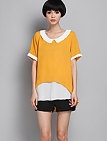 Women's Solid/Patchwork/Color Block Yellow Blouse , Peter Pan Collar Short Sleeve Layered