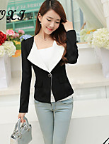 Women's Solid Pink/Gray Blazer , Sexy/Casual/Cute/Party/Work V Neck Long Sleeve