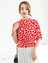 Women's Casual Micro-elastic ½ Length Sleeve Short Blouse (Chiffon)