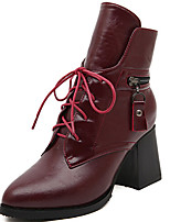 Women's Shoes Chunky Heel Pointed Toe Boots Casual Black/Burgundy