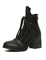 Women's Shoes Leather Chunky Heel Comfort Round Toe Boots Party and Dress Black