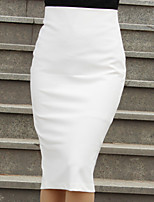 Women's Solid White/Black Skirts , Bodycon/Work Knee-length