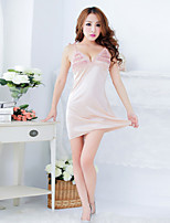 Women Polyester Simple V Neck Sexy Little Fantasies/Sleepwear Gowns Almond