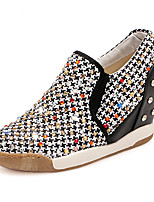 Women's Shoes Fabric Wedge Heel Round Toe Fashion Sneakers Casual Black/Beige