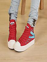 Zapatos de mujer - Tacón Plano - Creepers / Comfort / Punta Redonda - Sneakers a la Moda - Casual - Tela - Negro / Azul / Rojo