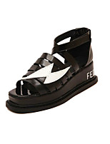 Women's Shoes   Flat Heel Mary  Creepers Sandals Outdoor/Casual Black/White