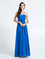 Floor-length Chiffon Bridesmaid Dress - Royal Blue Sheath/Column Spaghetti Straps