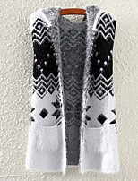 Fashion Women's Casual/Work Snow Pattern Micro-elastic Thick Sleeveless Vest (Wool Blends)