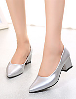 Women's Shoes Chunky Heel Pointed Toe Pumps/Heels Dress Black/Pink/Red/White/Silver